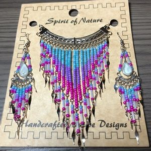 Handcrafted Seed Bead Necklace Earring Set